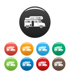 Camping truck icons set color vector