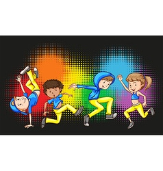 Children doing hip hop dance vector