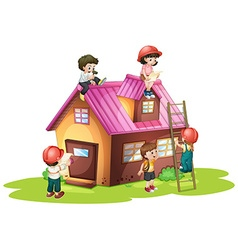 Children fixing and building house vector image