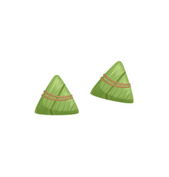 Chinese rice dumplings with bamboo leaf symbol of vector