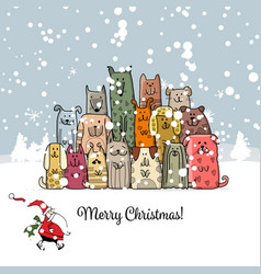Christmas card with happy dogs family vector