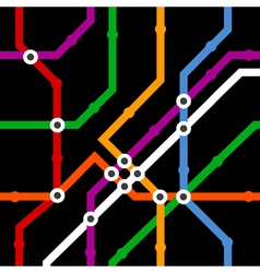 Color metro scheme seamless background on black vector