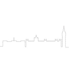 Continous line skyline of london vector