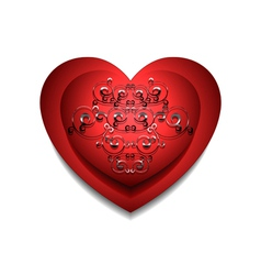 Convex red heart with silver pattern vector