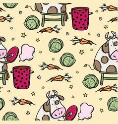 cow is cooking borsch seamless pattern vector image