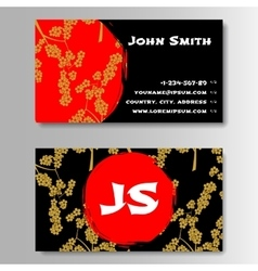 Creative Golden And Red Business Visiting Card vector