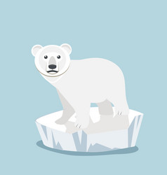 cute baby polar bear on ice floe vector image