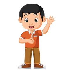 Cute boy waving cartoon vector