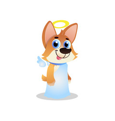 Cute corgi in white angel costume with wings and vector
