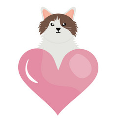 cute little cat with heart love character vector image