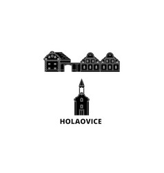 Czech republic holasovice flat travel skyline set vector