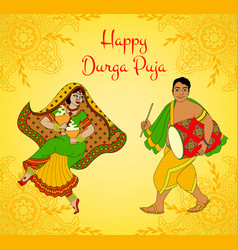 Durga puja greeting card vector