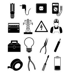 Electrician icons set vector image