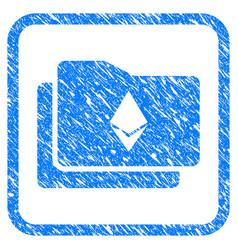 Ethereum wallet framed stamp vector