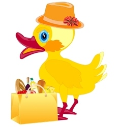 Fashionable duckling with product vector