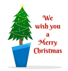 flat with decorated christmas tree in a pot vector image