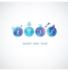 four blue shades water color circle with 2015 vector image