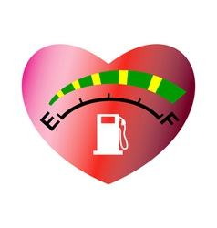 fuel gage meter heart shape vector image