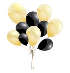 Gold and black balloons isolated on black vector