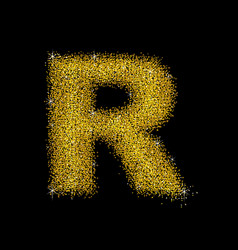 Gold dust font type letter r vector