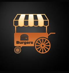 Gold fast street food cart with awning icon vector