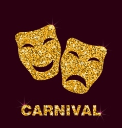 Golden Glittering Carnival Mask vector