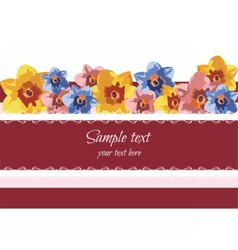 Greeting card with spring summer flowers vector