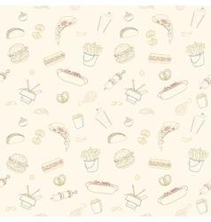 Hand-drawn seamless fast food pattern vector image