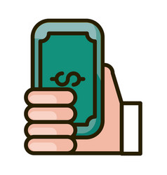 Hand with banknote money financial business stock vector