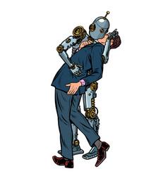 kiss love couple robot and man vector image