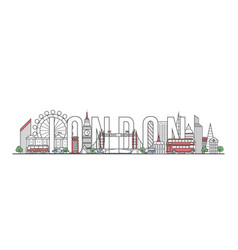 London travel lettering in linear style vector