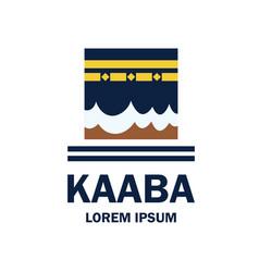 Makkah kaaba hajj omra logo with text space r vector