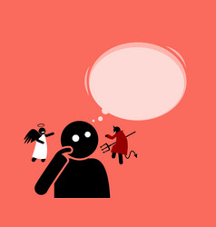 Man listening to the angel and devil vector