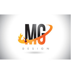 mg m g letter logo with fire flames design and vector image