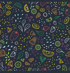 Modern seamless pattern with pieces of delicious vector
