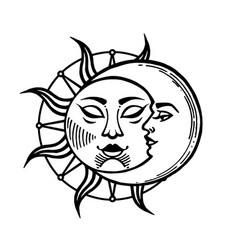 moon and sun tattoo moon with face stylized as vector image