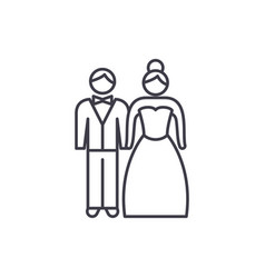 newlyweds line icon concept newlyweds vector image