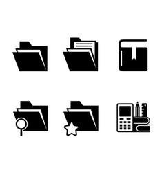 office folder organizer and book black icons set vector image