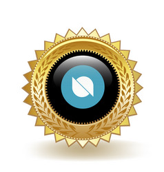 Ontology cryptocurrency coin gold badge vector
