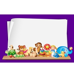 Paper template with lots of toys vector
