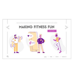 Physical health website landing page sportsmen vector