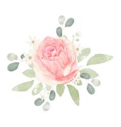 pink pastel watercolor rose flower bouquet vector image