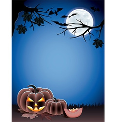Pumpkin night moon halloween vector