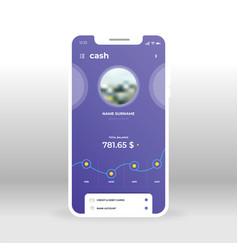 Purple cash page online banking ui ux gui vector