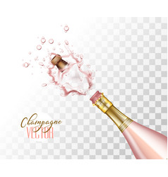 realistic pink champagne explosion closeup vector image