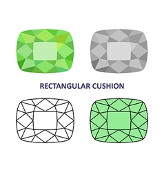 Rectangular cushion gem cut vector image