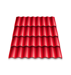 red corrugated roof tile modern roof coverings vector image