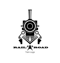 retro trail logo black silhouette locomotive vector image