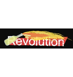 Revolution grunge scratched logo on black vector image