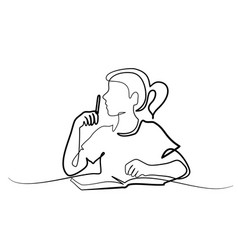 Schoolgirl sitting and writing with pencil on book vector